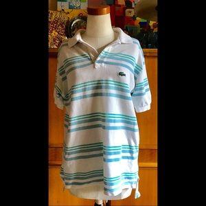 VNTG 80s Izod Lacoste Polo Shirt Ocean Colors Croc